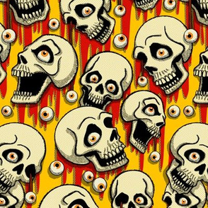 Halloween Skulls & Eyeballs - Yellow