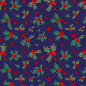 Blue Chritmas with holly berries