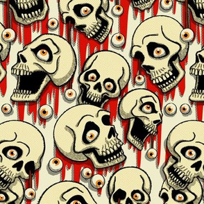 Halloween Skulls & Eyeballs - White