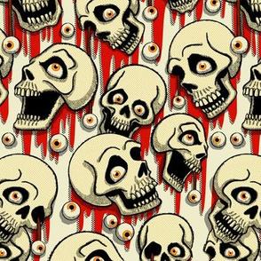 Halloween Skulls & Eyeballs - White