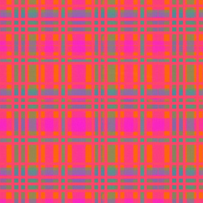 Screaming Pink watercolor tartan