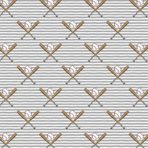 "(3/4"" scale) baseball bats on stripes (grey) C19BS"