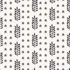 Ethnic leaf motif stripes scandi style.