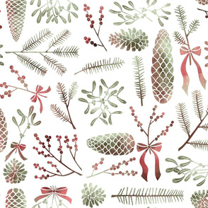 Watercolored Pine cones, Conifers, Winterberries and Mistletoe