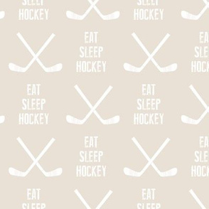 eat sleep hockey - cross sticks - light beige C19BS