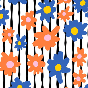 Stripes and Floral Blue and Orange