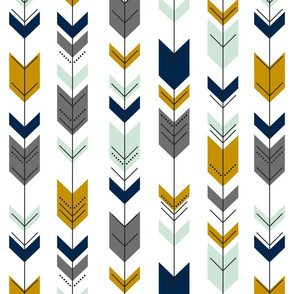 Tribal Arrow Navy/Mustard/Mint - Large Scale