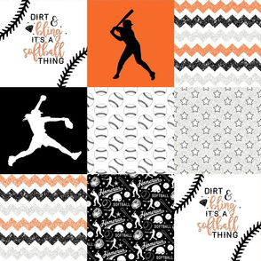 Softball//Dirt & Bling//Orange - Wholecloth Cheater Quilt