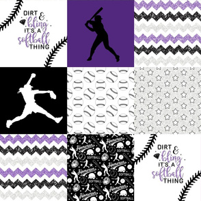 Softball//Dirt & Bling//Purple - Wholecloth Cheater Quilt