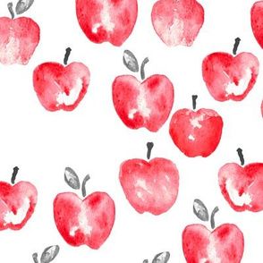 (large scale) watercolor apples - red C19BS