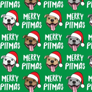 (small scale) Merry Pitmas - pit bull Santa hats - pitties - green - Christmas dogs - LAD19BS