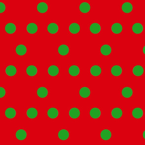 Christmas Spots (green on red)