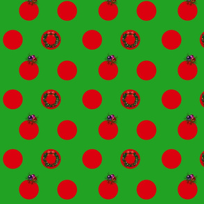Red Spots on Green - Christmas