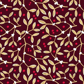 Mistletoe Dark Red and Gold
