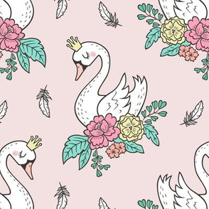 Dreamy Swan Swans & Vintage Boho Flowers and Feathers on Light Pink