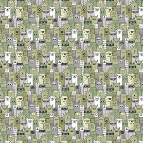 Monsters and Friends Olive Green Tiny Small