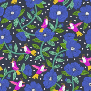 Hummingbird garden in cobalt blue