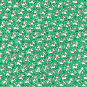 Christmas Holidays Unicorn Rainbow & Tree Doodle on Green Tiny Small
