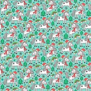 Christmas Holidays Unicorn Rainbow & Tree Doodle on Mint Smaller 1,5 inch