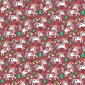 Christmas Holidays Unicorn Rainbow & Tree Doodle on Dark Red  Smaller 1,5 inch