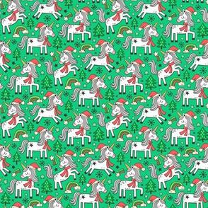 Christmas Holidays Unicorn Rainbow & Tree Doodle on Green Smaller 1,5 inch