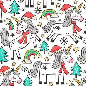 Christmas Holidays Unicorn Rainbow & Mint Green Trees Doodle on White