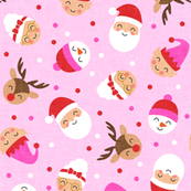 "(2"" scale) holiday gang - cute Christmas fabric - santa, mrs. claus, reindeer, snowman, elf - pink on pink - LAD19BS"