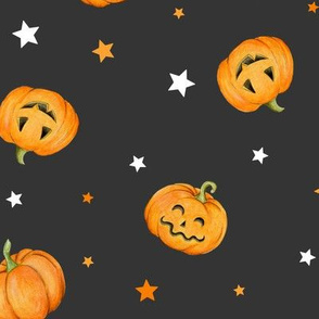 Halloween Pumpkins and Stars scattered on black night, medium scale