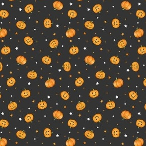 Halloween Pumpkins and Stars scattered on black night, tiny scale