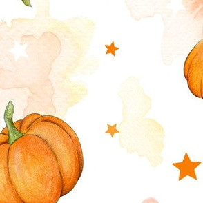 Halloween Pumpkins and Stars scattered on watercolour orange and white, large scale