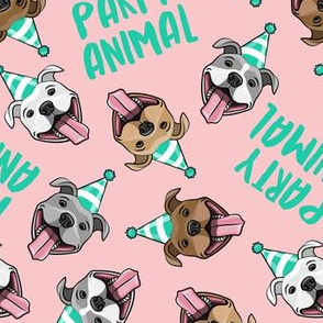 party animals - pit bulls - smiling pit bulls party hats - teal and blush pink - LAD19BS