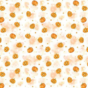 Halloween Pumpkins and Stars scattered on watercolour orange and white, tiny scale