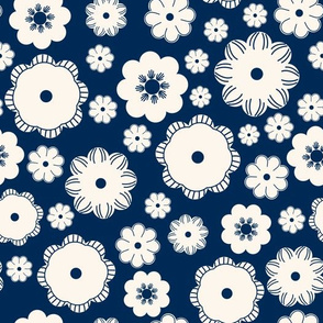 Beige flowers on a dark blue
