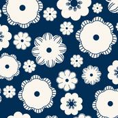 Beige flowers on a dark blue