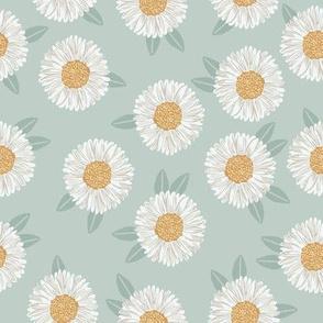 daisy fabric - sfx6205 milky green - nursery fabric, floral fabric, earth toned fabric, trendy floral fabric, baby bedding fabric