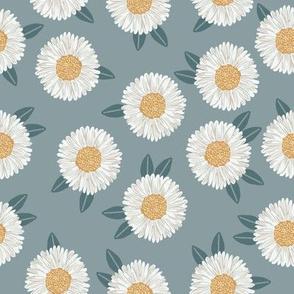 daisy fabric - sfx4408 slate - nursery fabric, floral fabric, earth toned fabric, trendy floral fabric, baby bedding fabric