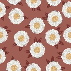 daisy fabric - sfx1443 redwood - nursery fabric, floral fabric, earth toned fabric, trendy floral fabric, baby bedding fabric