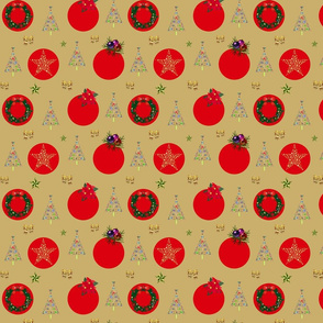 Christmas Decorations - red spots on gold