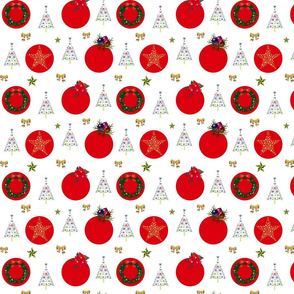 Christmas Decorations - red spots on white