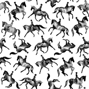 Black Watercolor Dressage Horses