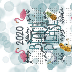 Beach please calendar towel with flamingos and mermaid 8CF669AB-A8CB-4F64-865A-859BBBBA5E36