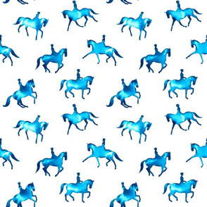 Turquoise Watercolor Dressage Horses