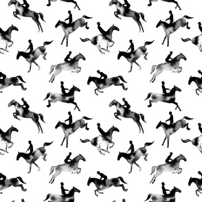 Showjumping Black Watercolor Horses