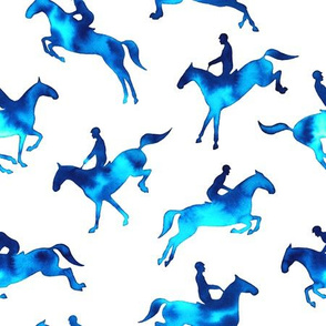 Showjumping Blue Watercolor Horses
