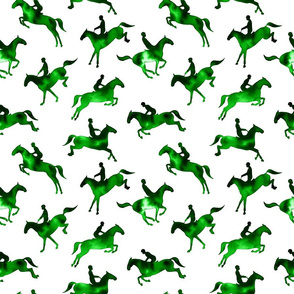 Showjumping Green Watercolor Horses