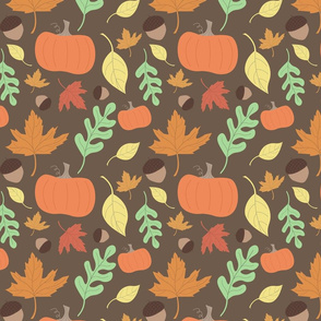 Autumn Pumpkins Leaves and Acorns Pattern