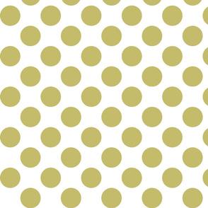 Big Polka Dots - Gold on White