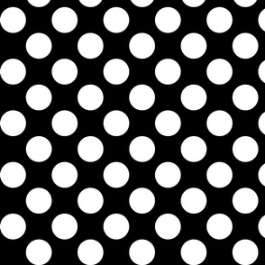 Big Polka Dots - White on Black