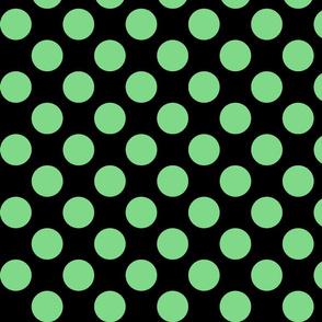 Big Polka Dots - Mint on Black