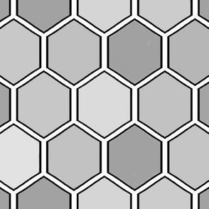"Geometric Hexagon ""Save the Honey Bees"" -Honeycomb med-grey"